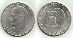 1976 D BICENTENNIAL IKE DOLLAR IN ALMOST UNCIRCULATED TO UNCIRCULATED CONDITION