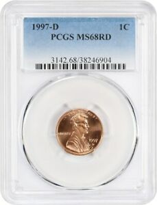 1997 D 1C PCGS MS68 RD   LINCOLN MEMORIAL SMALL CENTS  1959 2008
