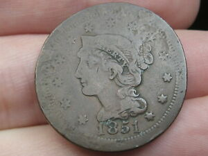 1851 BRAIDED HAIR LARGE CENT PENNY ELONGATED/FLATTENED VF DETAILS