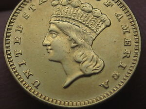 1887 $1 GOLD INDIAN PRINCESS ONE DOLLAR COIN  XF DETAILS