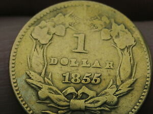 1855 O $1 GOLD LIBERTY HEAD ONE DOLLAR COIN   NEW ORLEANS