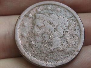 1850 1857 BRAIDED HAIR LARGE CENT PENNY  MATURE HEAD LARGE LETTERS