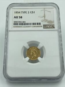 1854 TYPE 2 GOLD DOLLAR NGC AU58