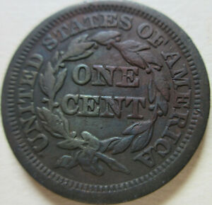 1846 US BRAIDED HAIR LARGE CENT COIN. BETTER GRADE  C422