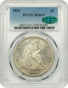 1841 $1 PCGS/CAC MS63  LOW MINTAGE DATE   LIBERTY SEATED DOLLAR