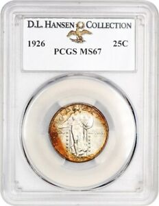 1926 25C PCGS MS67 EX: D.L. HANSEN   LOVELY TONING   STANDING LIBERTY QUARTER