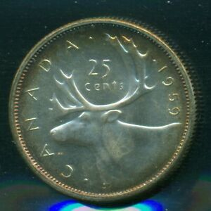 1959 CANADA QUEEN ELIZABETH II TWENTY FIVE CENT ICCS MS 63 CAMEO   P89