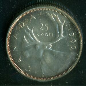 1960 CANADA QUEEN ELIZABETH II TWENTY FIVE CENT ICCS MS 63   P90