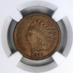 1863 INDIAN CENT NGC AU 55  110 DEGREE ROTATED DIES   ERROR