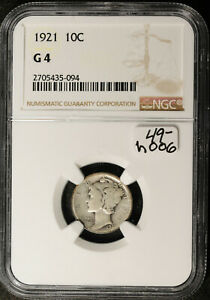 1921 MERCURY DIME.  IN NGC HOLDER.  G 4.   H006