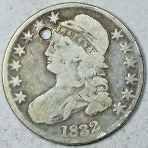 1832 CAPPED BUST HALF DOLLAR 50C HOLED GOOD