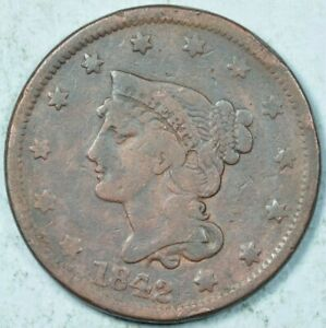 1842 1C BRAIDED HAIR LARGE CENT VG DETAILS GOOD