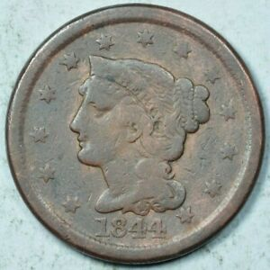 1844/81 1C BRAIDED HAIR CENT GOOD/ FINE DETAILS VG/F