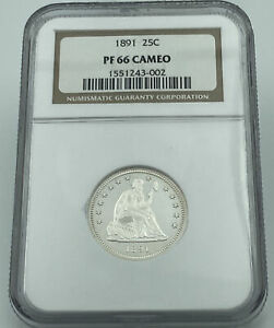 1891 NGC PF66 SEATED LIBERTY SILVER QUARTER BLAST WHITE FLAWLESS COIN