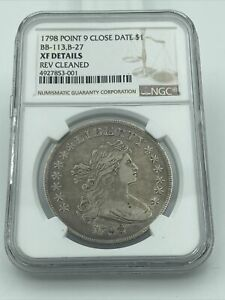 1798 POINT 9 CLOSE DATE FLOWING HAIR DOLLAR NGC XF DETAILS REV CLEANED