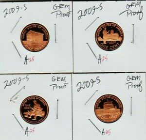 2009 S LINCOLN CENT SET BIF 4 PENNY PROOF COIN PROFESSIONAL  CHILDHOOD PRESIDENT