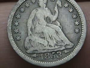 1853 P SEATED LIBERTY HALF DIME  WITH ARROWS VG/FINE DETAILS