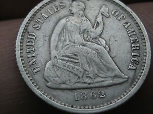 1862 SEATED LIBERTY HALF DIME  VF/XF OBVERSE DETAILS