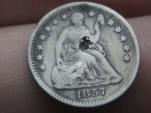1857 P SEATED LIBERTY HALF DIME  FINE DETAILS