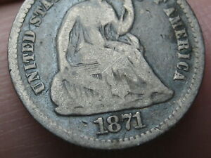 1871 P SEATED LIBERTY HALF DIME  VG DETAILS