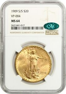 1909 S/S $20 NGC/CAC MS64  VP 004  FINEST KNOWN REPUNCHED MINTMARK