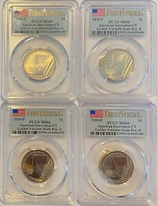 PCGS MS66 2020 P&D CT GERBER VARIABLE SCALE INNOVATION DOLLAR $1 4 COIN SET A&B