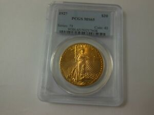 1927 US $20 ST GAUDENS DOUBLE EAGLE MS65 PCGS