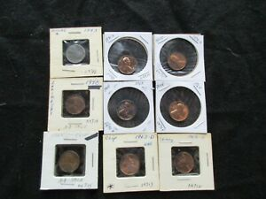 LINCOLN CENTS SET OF 9 COINS PROOFS CLIPS ETC. ERROR COINS   DAY 1120 05078
