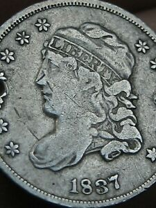 1837 SILVER CAPPED BUST HALF DIME  FINE/VF DETAILS SMALL 5C