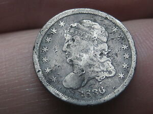 1836 CAPPED BUST HALF DIME  LARGE 5C