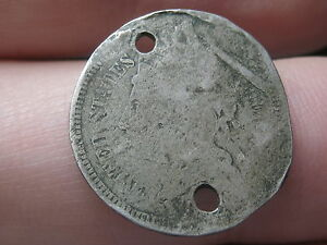 1865 1889 THREE 3 CENT NICKEL  HOLED TWICE POSSIBLE CIVIL WAR BUTTON?