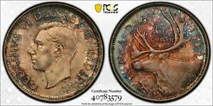 1940 CANADA 25 CENT PCGS MS64  LOTG471 SILVER  BEAUTIFUL TONING
