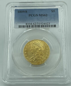 1809/8 PCGS MS62 CAPPED BUST GOLD EAGLE $5