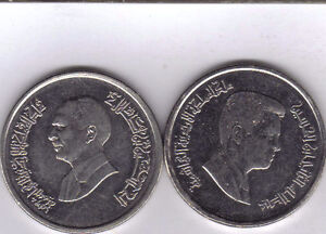 2 DIFFERENT 10 PIASTRE COINS FROM JORDAN   1993 & 2004  2 TYPES