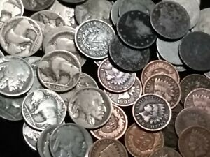 INDIAN HEAD PENNY LIBERTY HEAD AND BUFFALO NICKLE 3 COIN LOT  PARTIAL TO