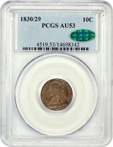 1830/29 10C PCGS/CAC AU53    OVERDATE VARIETY   BUST DIME