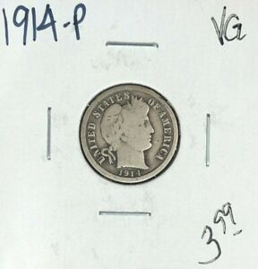 1914 P BARBER SILVER DIME   VG  NICE COIN
