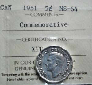 1951 COMM. CANADA 5 CENTS ICCS GRADED MS 64