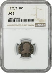 1823/2 10C NGC AG 03  SMALL ES  BUST DIME