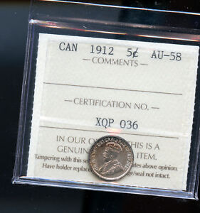 1912 CANADA SILVER 5 CENTS ICCS CERTIFIED AU58 DC10