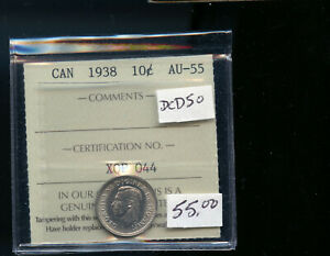 1938 CANADA SILVER 10 CENTS ICCS CERTIFIED AU55 DC600