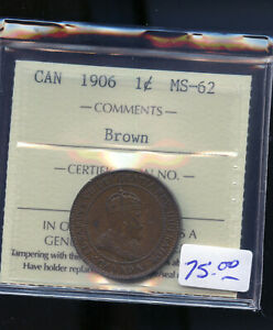 1906 CANADA LARGE CENT ICCS CERTIFIED MS62 DC538