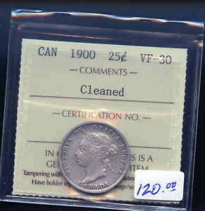 1900 CANADA 25 CENTS ICCS CERTIFIED VF30 CLEANED  DC464