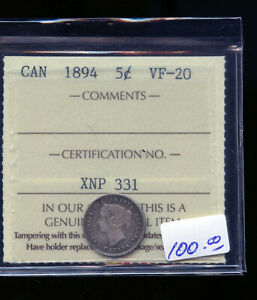 1894 CANADA 5 CENTS ICCS CERTIFIED VF20 DC484