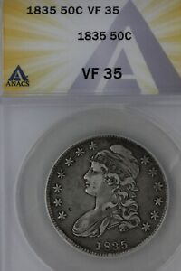1835  .50  ANACS  VF 35   1800'S CAPPED BUST HALF DOLLAR MISS LIBERTY BUST