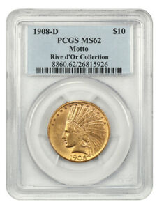 1908 D $10 PCGS MS62  WITH MOTTO  INDIAN EAGLE   GOLD COIN