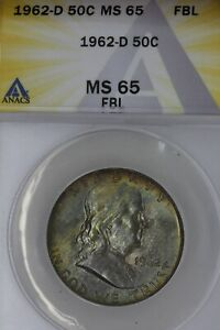 Click now to see the BUY IT NOW Price! 1962 D  .50   ANACS   MS 65 FBL   FRANKLIN HALF DOLLAR BENJAMIN HALF BELL HALF