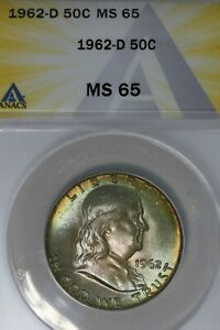 Click now to see the BUY IT NOW Price! 1962 D  .50   ANACS   MS 65    FRANKLIN HALF DOLLAR BENJAMIN HALF BELL HALF