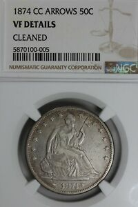 Click now to see the BUY IT NOW Price! 1874 CC .50  NGC  VF DETAILS ARROWS CLEANED LIBERTY SEATED HALF 50 CENTS