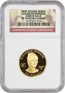 Click now to see the BUY IT NOW Price! 2008 W ELIZABETH MONROE $10 NGC PR 70 UCAM   FIRST SPOUSE .999 GOLD